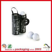 Luxury golf ball packaging paper tube golf gift box cardboard box with portable ribbon