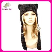 Womens Knitted Ear Flap Cat Hat in Black Grey Maroon