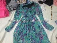 2014 fashion used clothing ladie's silk dress