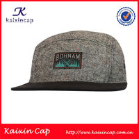 custom tweed 5 panel camp hat with label patch