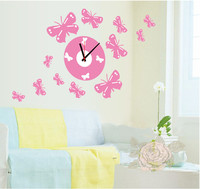 SA1-004 Wholesale Cheap Pink Butterfly Removable Plastic 3D Wall Sticker Clock