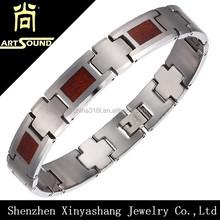 Stainless steel/titanium wood grained paper 2015 bracelet