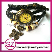 2014 Black leather bracelet watch with butterfly charms