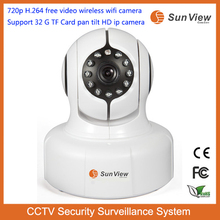 SunView 720p H.264 free video camera Support 32G TF Card pan tilt full HD ctv security system H.264 Wireless Wifi IP Camera
