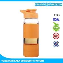 400ml hot sale joyshaker running water glass bottle with protective sleeve