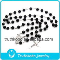 Fashion religious catholic luminous black plastic rosary beads stainless steel Mary centerpiec and Jesus cross Charm necklace