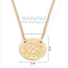 New Design Gold Plated Letters Alphabet Round Charms