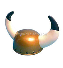 Hot sale costume accessory viking helmet with horns white and black large horn hat for sale HT4329