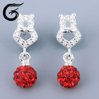 2015 silver 925 white gold stud earrings Crystal jewelry