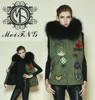 Woman popular detachable fur collars beading fur vest