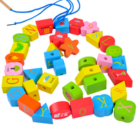 Wooden Bead Maze Toys Baby String Toys Number Letter Educational Toys for Children