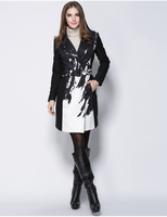 new fashion dress black and white print plus size women's winter coat 2015