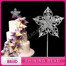 flower shape sparkling rhinestone cake topper for cake