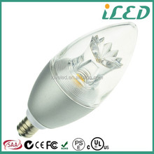 50W Replacement Steady Light 2700k Soft White 450lm Led Wax Candle 5W 120V
