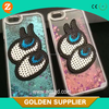 Newest Girl Creative Bling Glitter eyes Liquid Design 3D Cell Phone Case for Mobile Phone Accessory