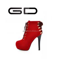 Ladies platform high heels woman shoes flock lace-up party shoes wholesale cheap shoes