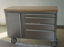 48 inch cheap tool chest with wheels for sale with rubber wood work top