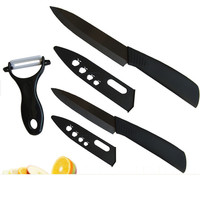 3 PCS Perfect Black Zirconia Cutting Knife Ceramic Japanese Kitchen Knives Chef Knife Safety Cutter Knife With Peeler For Sale