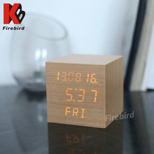 Unique style cube desktop real wood retro alarm clock for hotel decoration