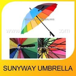 Automatic Open Rainbow Colour 16 Ribs Straight Umbrella Fashion Outdoor Umbrella