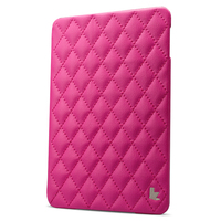 Rose red quilted cases for iPad mini 4 Jisoncase new release luxury hard shell leather case fast shipping