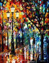 Two Lovers Walk in the night Romantic Canvas oil painting abstract paintings on canvas Knife canvas oil painting abstract