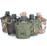 CS 3-in-1 Combat Army Military Water Bottle With Lunch Box Canteen Kettle And Militaria Nylon Carrying Pouch Hydration Ba