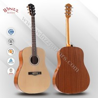 """[WINZZ] 41"""" Spruce Plywood Sapeli Plywood Back Rosewood Acoustic Guitar (AF48)"""