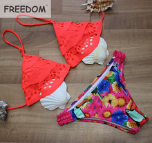 Hot Girls Print Neon Color Sexy Brazilian Bikinis