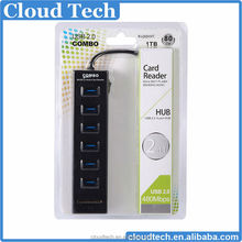 USB 2.0 6 port internal usb hub + 2.0 internal carder with 2 slot(for SD/TF)