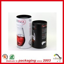 round shaped rigid cardboard cylinder paper tube with tin lid can for wine glass cup personalized design