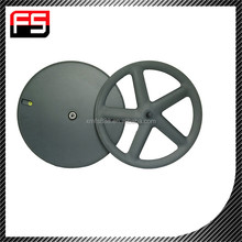 2015 FS full Toray T700 carbon 5 spoke lightweight 700c track bike wheelset, strong& stiff OEM five spoke wheels for sale