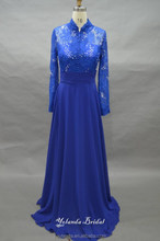 2015 Elegant Floor Length Crystals Beads Lace And Chiffon Royal Blue Long Sleeve Evening Dress lace Evening Dress For Seniors