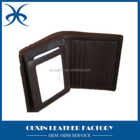 Black tri-fold rfid blocking synthetic pu leather brand wallet with embossed /gold stamp /silk printing logo factory price