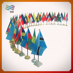 decoration flying double side printed table flag with plastic stand