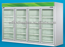 Refrigerator cabinet with double hollow glass door for beverage and drink