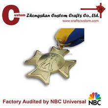 Promotional new products expert factory custom gold finish blank cross medal with ribbon pin