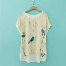 A304 2015 Fashion Blue bird printing short sleeve t-shirt manufacturers in mexico