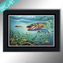 Living room decor wholesale ocean animal oil painting digital fish print painting by Epson