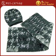 2015 latest thick jacquard knit pattern hat scarf set