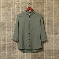 Custom men fashion long sleeves t-shirt with flax