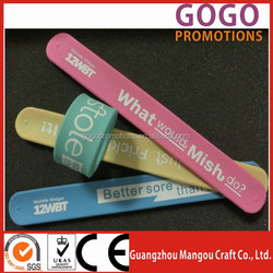 Professional manufacture different kinds of silicone slap band wristband,Low cost eco-friendly colorful silicone ruler slap band