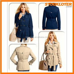150304-1c2015 Outlet coat Fashion ladies trenchcoat stocklots surplus