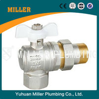 ML-2106 Brass body Ball Valve with nickel coated for water meter