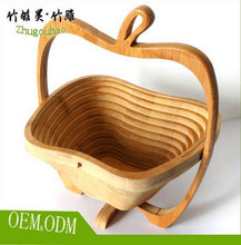 Bamboo custom Folding Apple Basket - Stores Flat with different shape