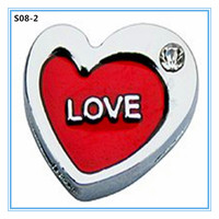 DIY fashion red enamel double heart 8mm slide charms bulk charms