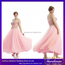 New Arrive Plus Size Beaded Crystal Sweetheart Neck Lace Back Pink Chiffon Floor Touching Evening Dress For Fat Women(SA903)