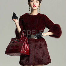 QD29654 Wholesale Woman Clothing Colorful Rex Rabbit Fur With Fox Fur Winter Coat