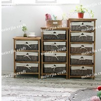 bedroom use antique three tier wood storage unit with basket
