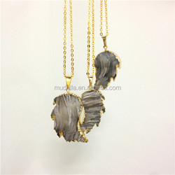 N074 Agate Angle Wing Pendant Necklace Gold Plated or silver Agate Gemstone Gold Wing Chain Necklace